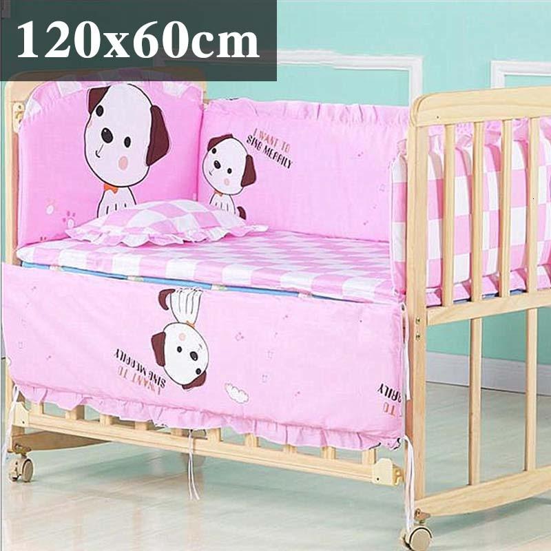 5 шт. натуральный хлопок детское постельное белье Комплект для бампера мягкий съемным моющимся коляска для новорожденных Детское постельное белье детская кроватка бампер детская комната с декором на утолщенной - Цвет: pink puppy120x60cm