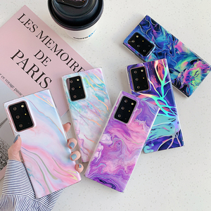 LOVECOM Laser Gradient Marble Phone Case For Samsung S20 A51 A50 S10E S10 S8 S9 Plus Note 20 10 With Finger Ring Soft Back Cover