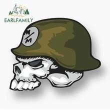EARLFAMILY 13cm x 11cm for Metal Mulisha Skull Helmet Logo Oem Car Stickers Vinyl JDM Bumper Trunk Scratch-proof Camper Decal