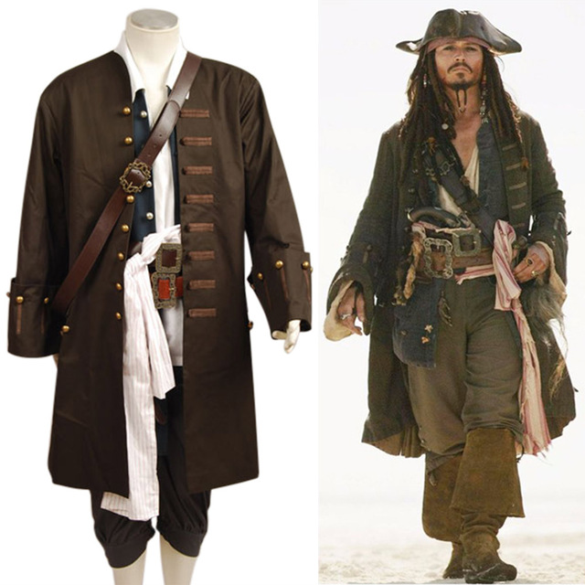 Pirates Of The Caribbean Jack Sparrow Jacket Vest Belt Shirt Pants Costume Set Halloween