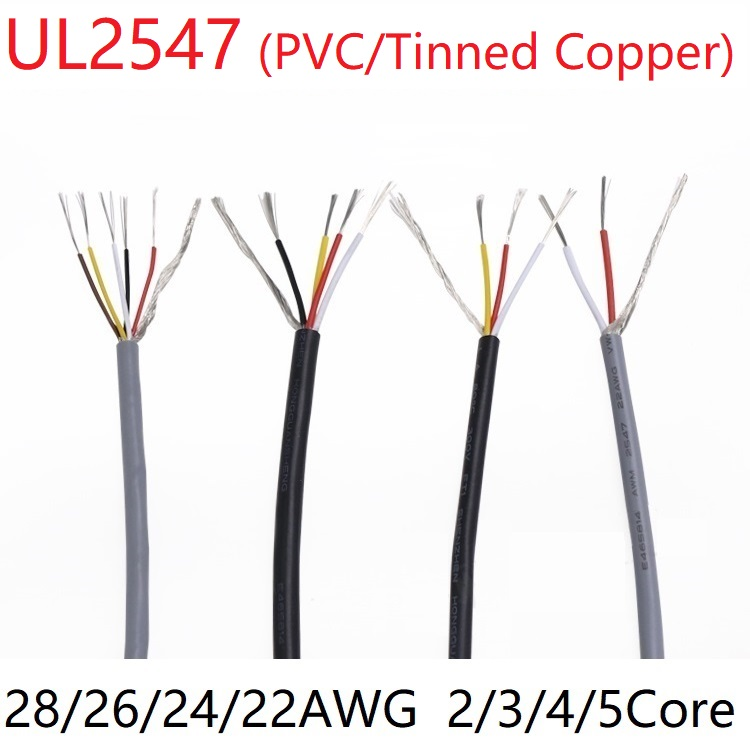 UL2547 Signal Shielded Cable 22 24 26 28 <font><b>AWG</b></font> PVC Insulated 2 3 4 5 Cores Amplifier Audio Copper <font><b>Wire</b></font> Headphone DIY Control Line image