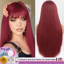 Peluca larga recta color vino tinto con flequillo pelucas de pelo sintético Bang con peluca para mujer resistente al calor rojo vino