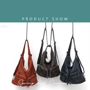 Image 2 - CEZIRA большой мягкий Повседневный женский рюкзак, функциональный школьный рюкзак для девочек, сумка из искусственной кожи, Дамский мессенджер с несколькими карманами и сумка через плечо