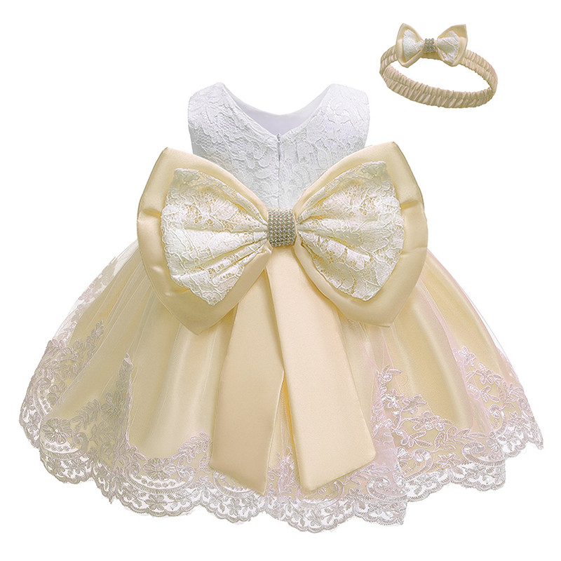 Flower Girl Dresses For Party Wedding Baby Girls 1st Years Birthday Outfit Cotton Linging Children Girls First Communion Dresses