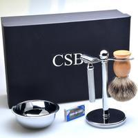 CSB Shaving Holder, Shaving Brush, Shaving Soap Bowl & Shaving Razor Set Men's Shaving Kit Male Shaving Tool Set