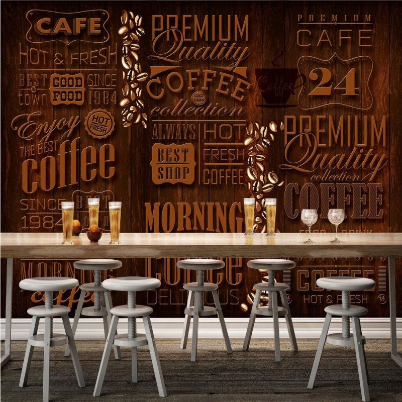 Drop Shipping Photo Wallpaper 3D Retro Coffee Shop Letters Mural Background Wall TV Wall Painting Stereo Wallpaper Custom Mural
