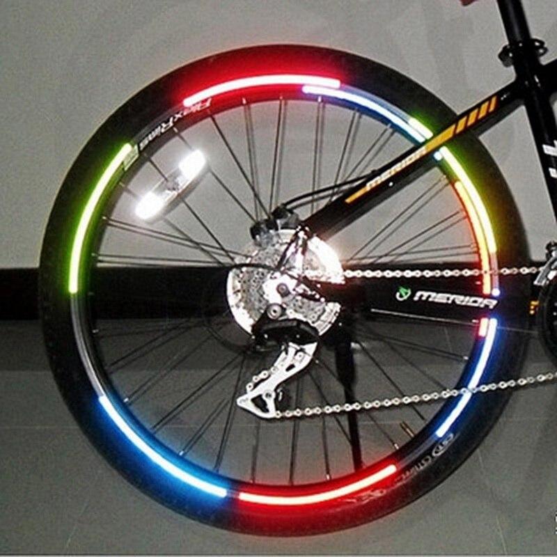 Loozykit Bicicletta riflettore Fluorescente MTB Della Bici Ciclismo Wheel Rim Riflettente Degli Autoadesivi Della Decalcomania Accessori