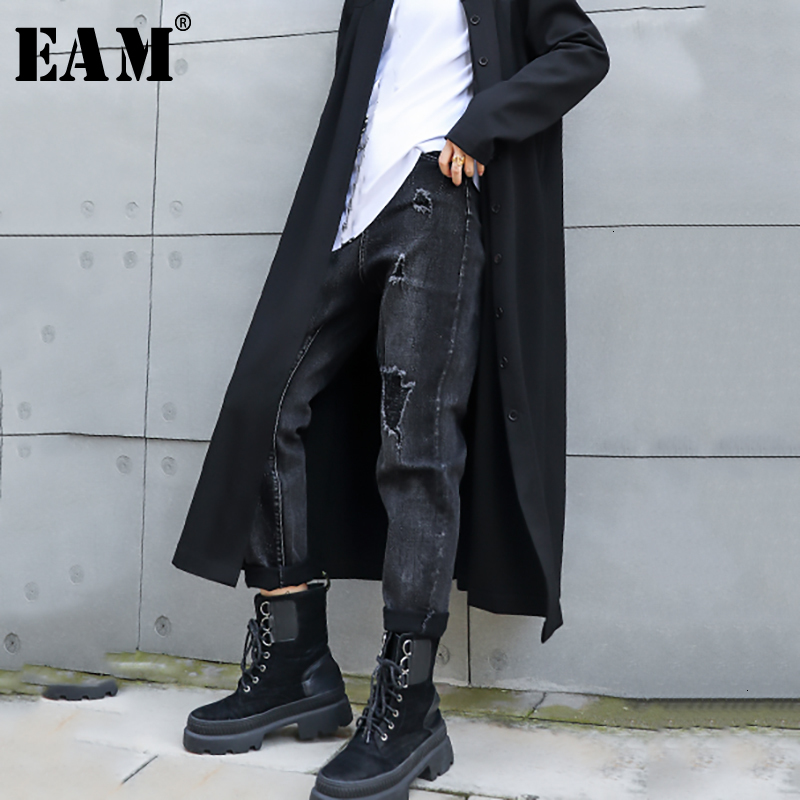 [EAM] Wide Leg Vintage Long Leisure Black Jeans New High Waist Loose Women Trousers Fashion Tide Spring Autumn 2019 1H7290
