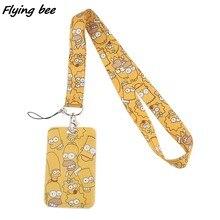 Flyingbee X1390 de dibujos animados amarillo cordón tarjeta titular de la identificación llavero coche Tarjeta de Identificación pasar gimnasio teléfono placa niños Soporte para Llavero joyería