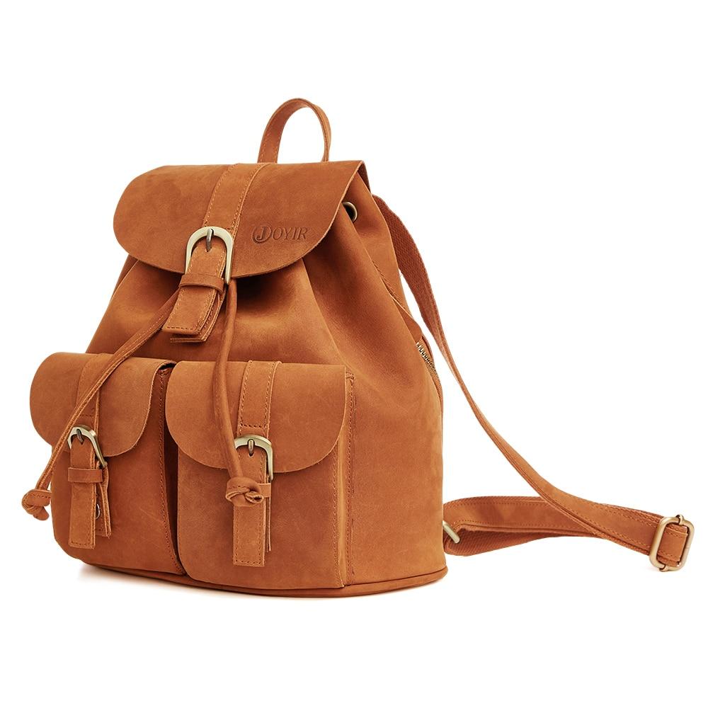 Women Backpack Genuine Leather Vintage Brown School Backpacks Female Leather Ladies Shopping Travel Bags Girl Shoulder Bag