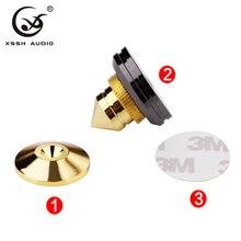 XSSH 8pcs Solid Steel Speaker Spike Isolation Feet Brass Cone CD Amplifier Stand HIFI audio