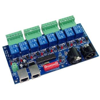 цена на 8 channe Relay switch dmx512 Controller, relay output,DMX512 relay control,8way relay switch,10A*8CH led light controller