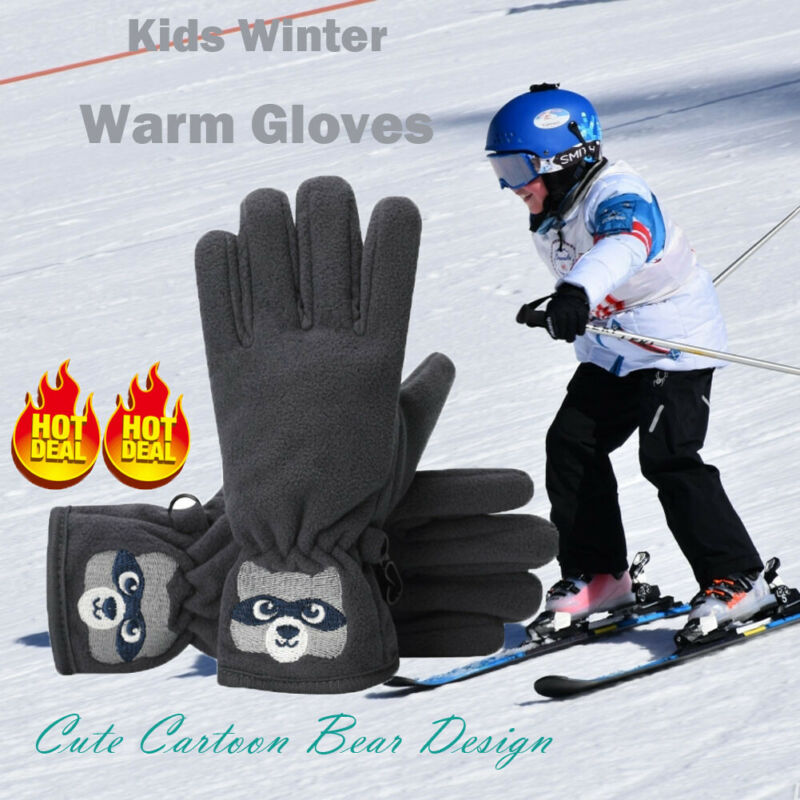 1-8 Years Child Boys Winter Gloves Cycling Gloves Breathable Warm Mitten Outdoor Sports Fishing Riding Climbing Non-Slip Gloves