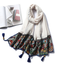 Womens Embroidery Winter Scarf Fashion Cotton Warm Scarves Ladies Pashmina Bandana Blanket Neckerchief Shawls Wraps