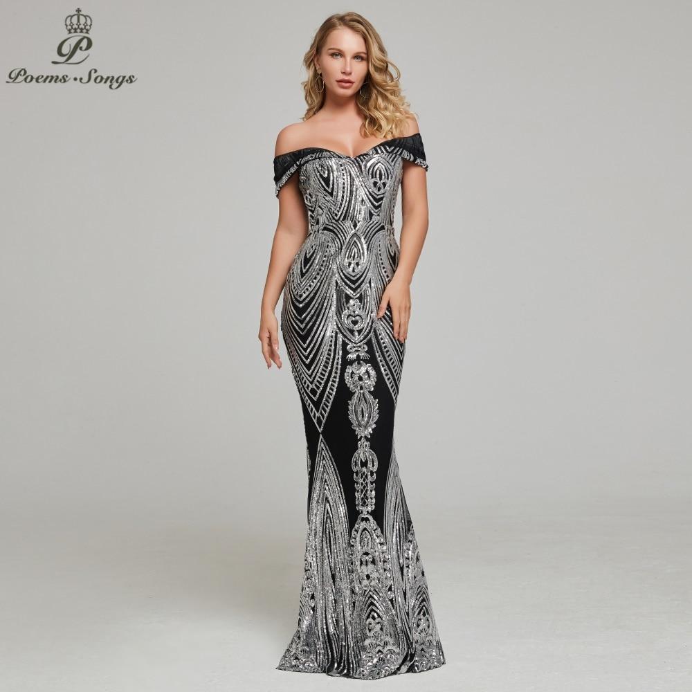 Sexy bateau cou style argent sequin robe de soirée vestidos de gala robe de soirée robes de soirée pour les femmes fête robes de bal 2019