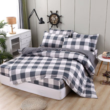 Bedding Set Bed Sheet Quilted Beddingset Mattress Protector Plaid Printing Home Textile Duvet Cover Set Sheets Pillowcase 4pcs(China)