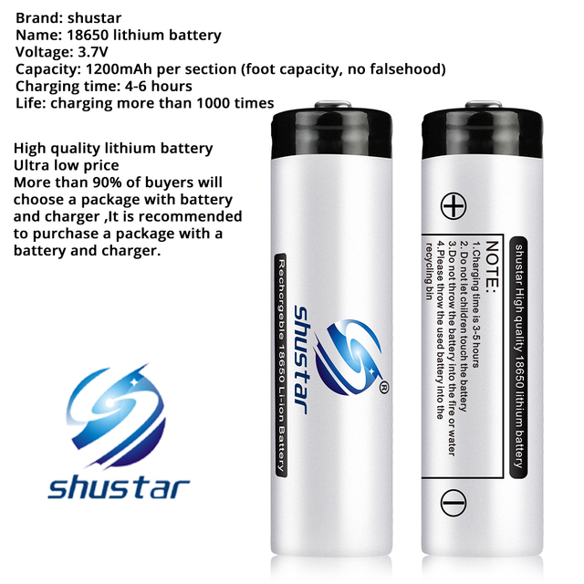Shustar Led flashlight Ultra Bright torch L2/V6 Camping light 5 switch Mode waterproof Zoomable Bicycle Light  use 18650 battery 2