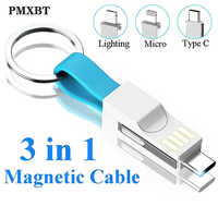 Short keychain USB Magnetic Cable 3in1 Micro USB Type C lighting Cables For iphone Samsung Huawei usb-c Key-chain Charging Cord