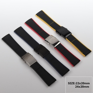 22mm 24mm Black Yellow Red Blue Nylon Rubber Watch band For Breitling Strap NAVITIMER WORLD Avenger navitimer bracelet