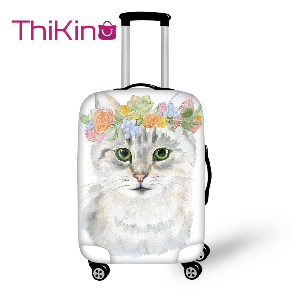 Thikin Cute Wreath Cat Travel Luggage Cover For Girls Cartoon School Trunk Suitcase Protective Cover Travel Bag Protector Jacket