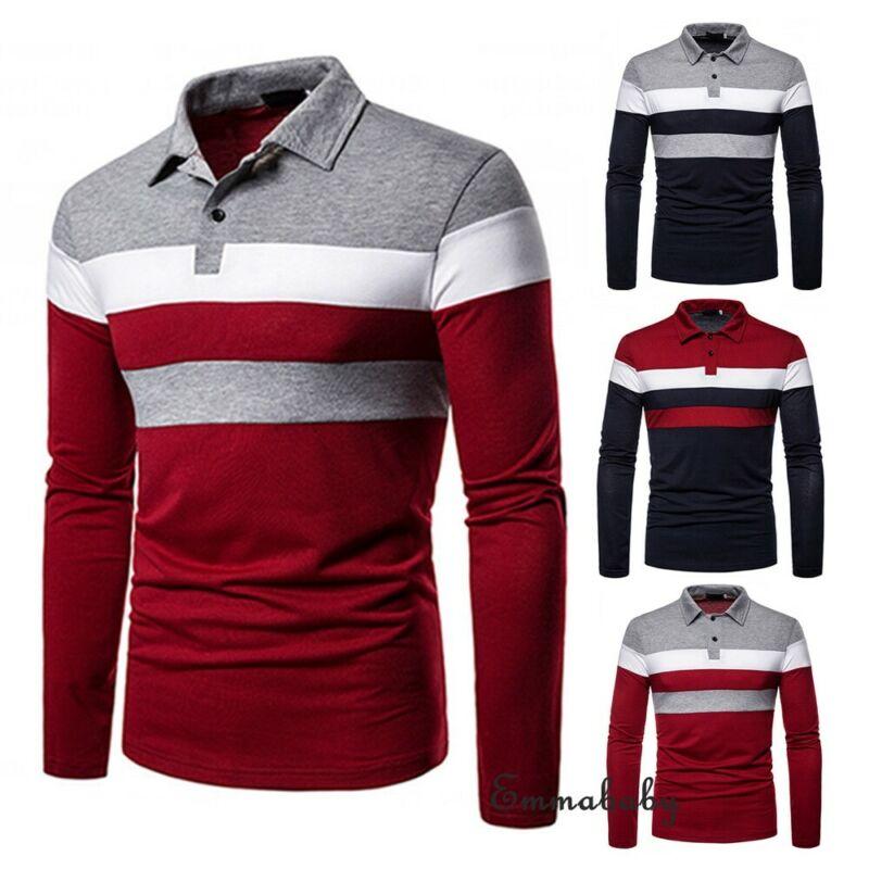 Men's Casual Long Sleeve T-Shirts Fashion Stripe Tee T-Shirts Slim Fit Turn-down Basic T-Shirts Men Clothing
