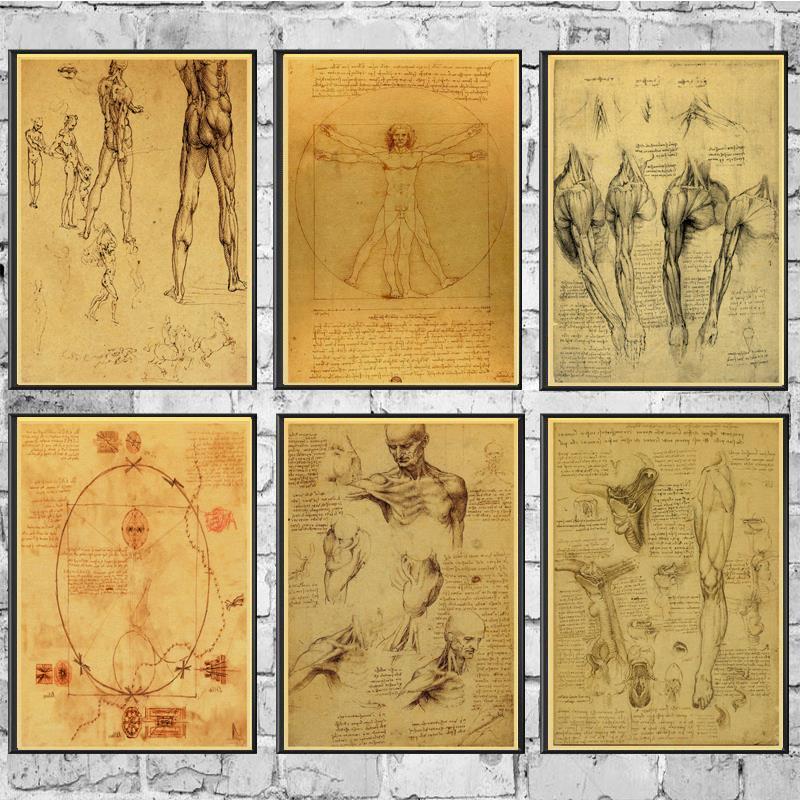 Leonardo Da Vinci Manuscript Vitruvian Man  Retro Poster Painting Wall Poster Modern Art Poster For Home /Kids Room/Bar Decor