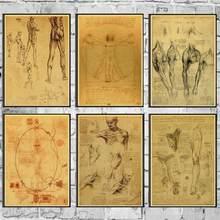 Leonardo da vinci manuscrito homem vitruviano retro cartaz da parede pintura cartaz da arte moderna cartaz para casa/sala de crianças/decoração da barra