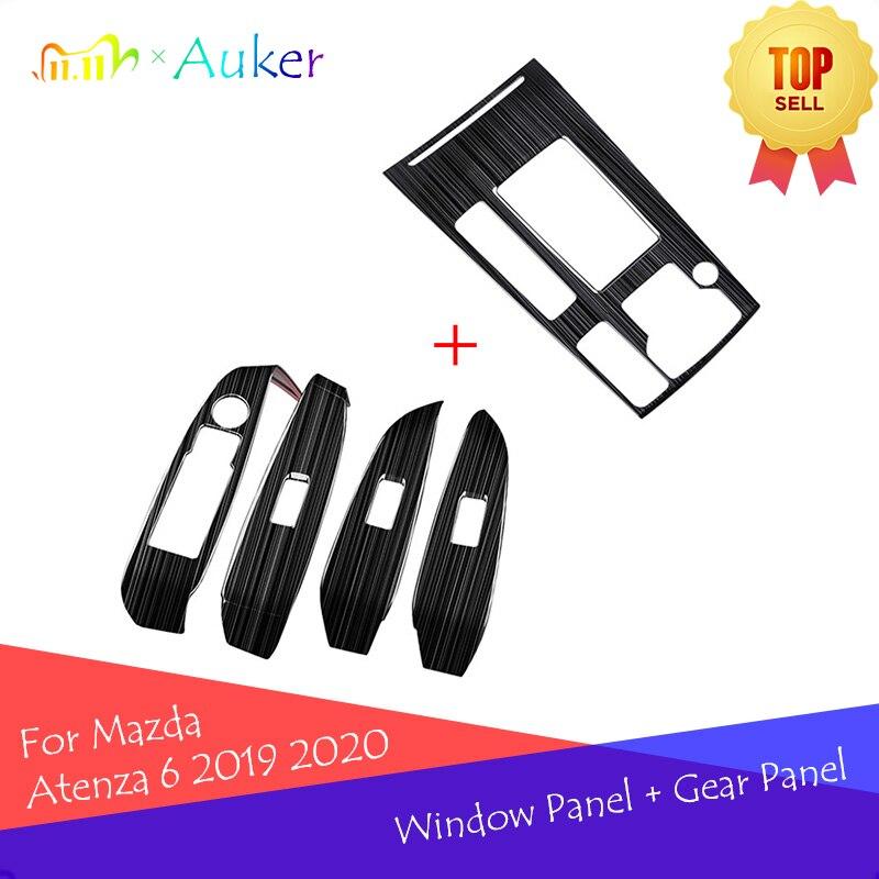 Para mazda 6 atenza 6 2019 2020 accessoires caixa de mudança engrenagem do carro + interruptor da janela painel capa adesivo guarnição tira decore estilo