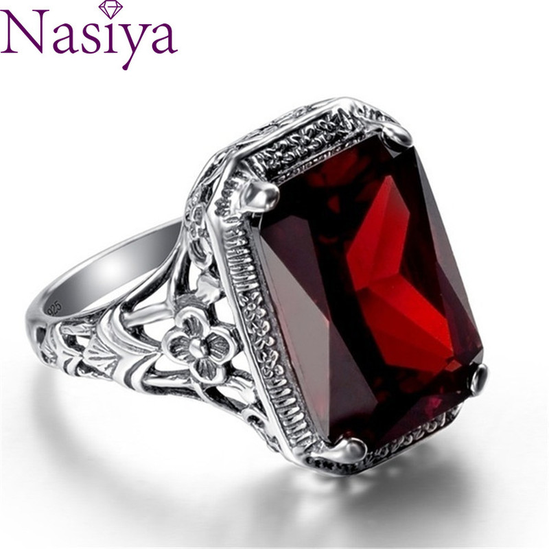 Vintage Ruby Engagement Ring Gemstone 925 Silver Ring Jewelry For Women Wedding Party