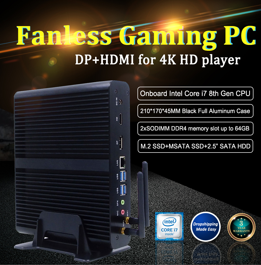 Eglobal <font><b>Fanless</b></font> Mini pc i7 <font><b>8550U</b></font> 7560U 7260U gaming pc 2DDR4 Msata M.2 SSD Micro PC Win10 Pro Barebone HTPC Nuc VGA HD image