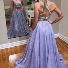 2 Piece Glitter Prom Dresses 2020 Sleeveless Spaghetti Strap