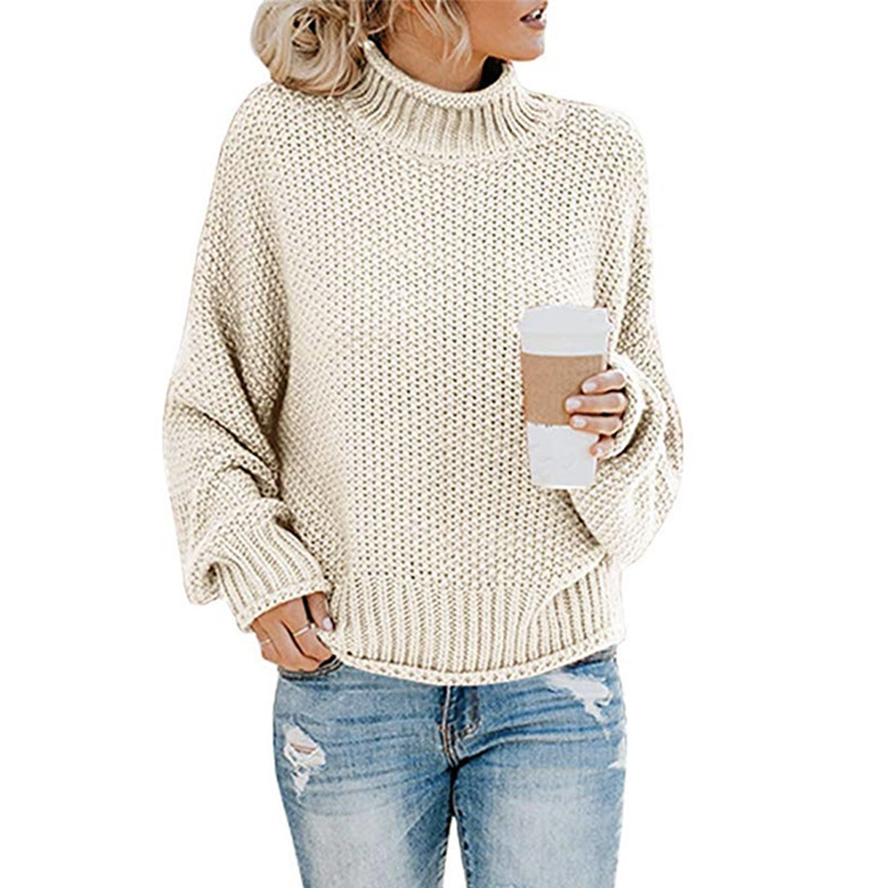 Fall Winter 2019 Women Knitted Sweater Office Casual Elegant Warm Long Sleeve Thick Line Turtleneck Sweater Female Pullover Tops