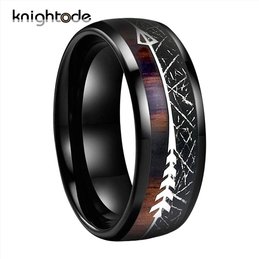 Black Meteorite/Koa Wood Unique Texture Inlay Black Tungsten Carbide Ring For 8mm Men Women Wedding Slivery Arrow Dome Polished