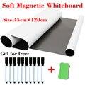 Мягкая магнитная доска для холодильника  магниты для дома и офиса  белая доска  размер 45 см x 120 см  подарок  10 ручек  1 ластик