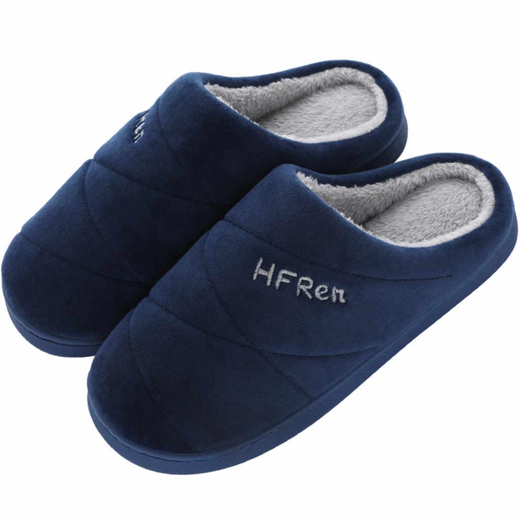 Outono inverno homens chinelos de fundo macio casa sapatos de algodão masculino chinelos de deslizamento interior slides casal sapatos confortáveis # yl5