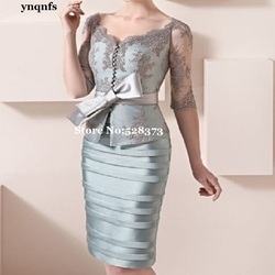 ynqnfs MF134 Elegant 2019 Mother Of The Bride Dresses Sheath Half Sleeves Lace Bow Short  Party Dress Mother Dresses