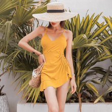 Woman Swimsuit One Piece Gold Skirted One-piece Swimwear Push Up Female Solid V-neck Ruched Textured Beach Summer Bathing Suit