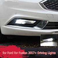 2Pcs LED DRL Daytime Running Lights Lamps Turn Signal Fog Lights with Wire for Ford for Fusion 2017+ Driving Lights