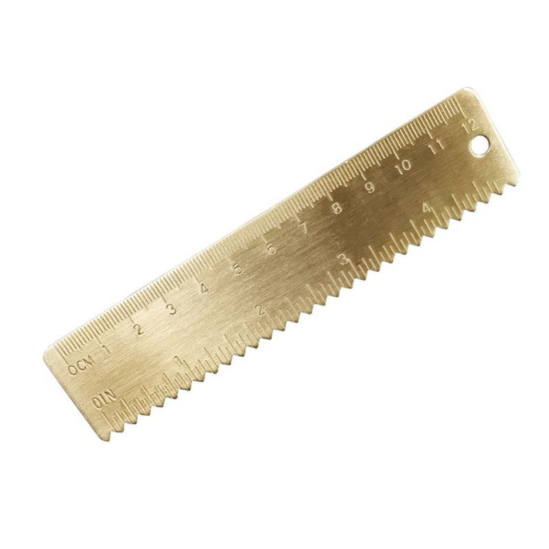 New Brass Wave Straight Ruler Bookmark Cartography Painting Measuring Stationery