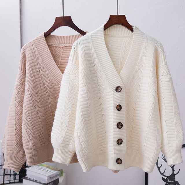 Oversized Knitted Cardigan Women 2020 Long Sleeve Autumn Winter Sweater Women Casual Loose Cardigan Femme Knitted Coat & Jacket