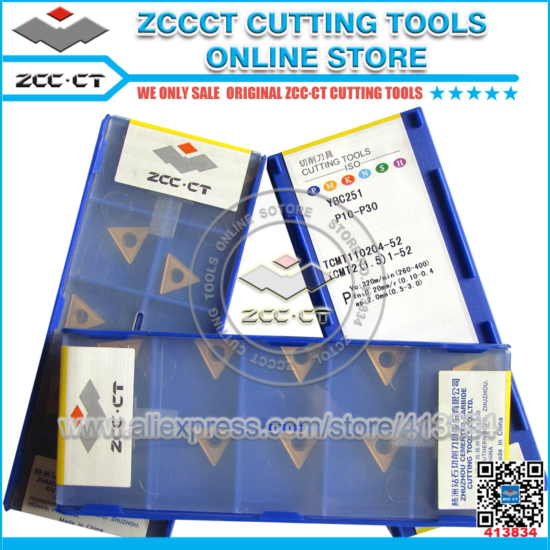 50pcs ZCC tablet TCMT110204 -52 YBC251 <font><b>TCMT</b></font> <font><b>110204</b></font> HM ZCC.CT cutting tool turning inserts TCMT110204-52 Free Shipping image