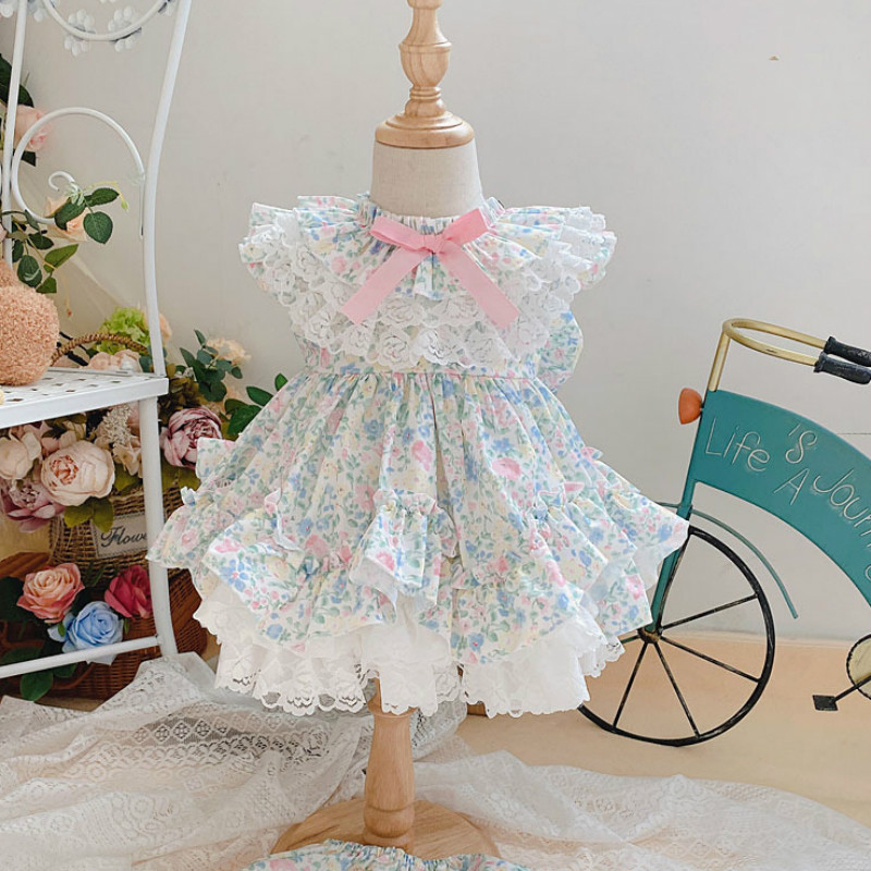 2020summer Spanish Custom VTG Lolita Floral <font><b>Princess</b></font> Dress <font><b>Toddler</b></font> Christmas Dress Kids Dresses for Girls Baptism Wedding Dress image