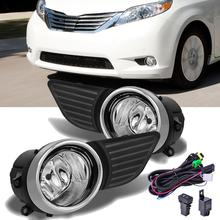 For Toyota Sienna 2011 2017 Clear Glass Bumper Fog Lights Grill Lamp wire harness Switch+Bulb