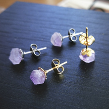 Earrings Jewelry Crystal Flower Rough-Stone Natural Amethyst Luxury And High-End Women's