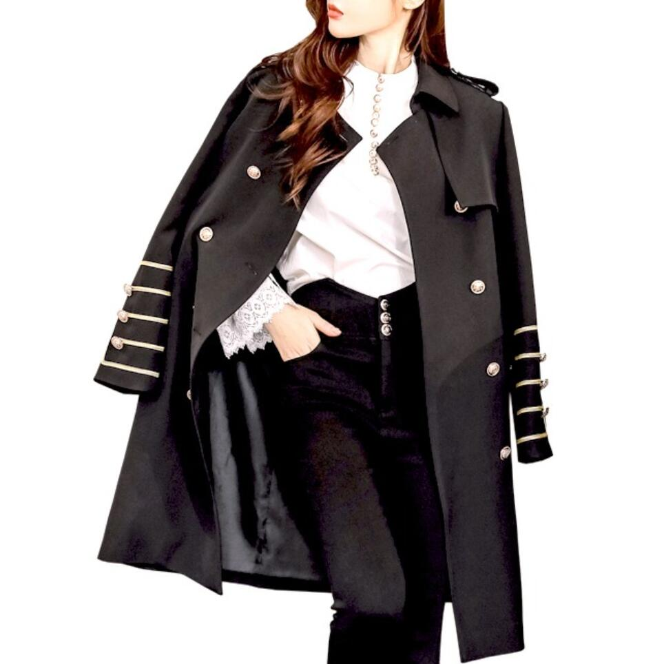 Women autumn winter double breasted long military style   trench   coat slim elegant work business   trench   outwear
