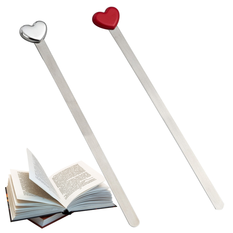 Fashion Simple Design Red Sliver Love Heart Metal Bookmarks Creative Beautiful High Quality Bookmark Gift
