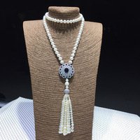 CS2082 Pure 925 standard Pure Silver Necklace Pendant Necklace White natural freshwater pearl jewelry