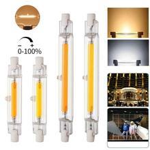 Затемнения светодиодный R7S Стекло трубка COB лампы 78 мм 20 Вт 118 мм 40W R7S лампа «Кукуруза» J78 J118 заменить галогенные светильник 55 Вт 100 AC220V 230V Lampad