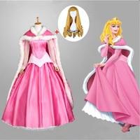 Hot Movie Sleeping Beauty Princess Aurora Luxury Dress Adult Costume Cosplay Halloween Christmas Woman Cloak Dress Set Wig