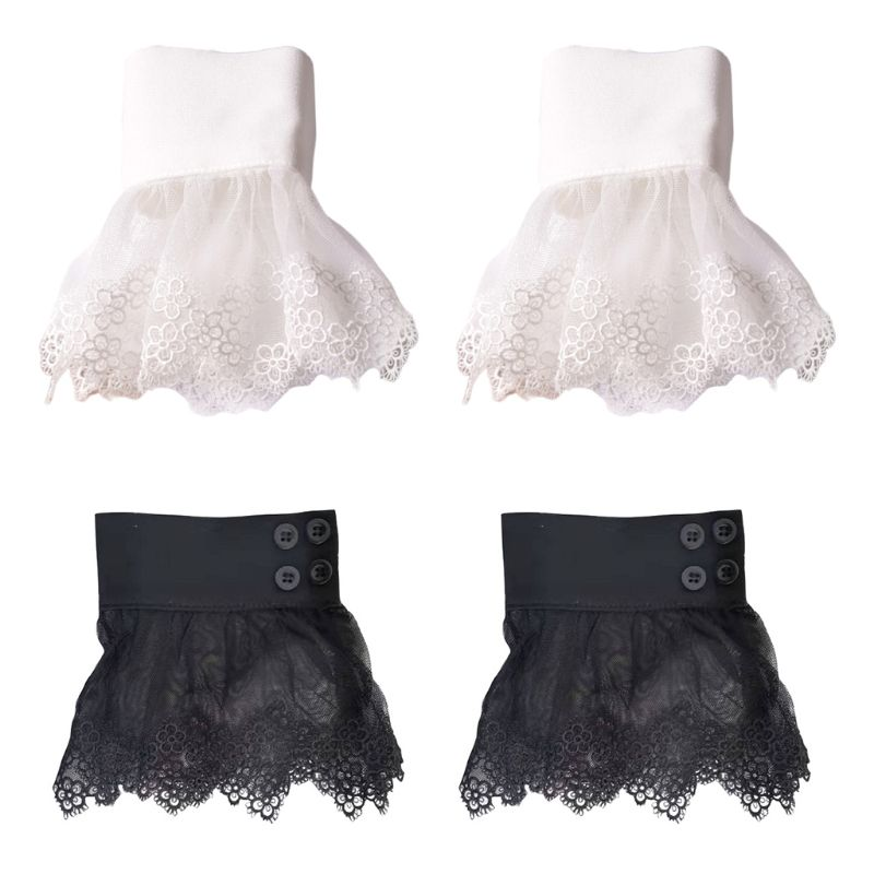 Korean Ladies Fake Sleeves Hollow Out Embroidery Floral Lace Trim Sheer Detachable Horn Cuffs Pleated Sweater Decor Wrist Warmer
